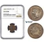 AA565, Straits Settlements, Victoria, 1/4 Cent 1845, NGC XF45