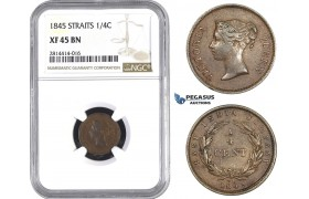 AA565, Straits Settlements, Victoria, 1/4 Cent 1845, NGC XF45