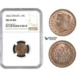 AA566, Straits Settlements, Victoria, 1/4 Cent 1862, NGC MS64BN, Pop 2/1, Rare Grade!