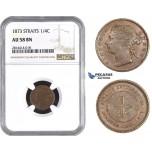 AA567, Straits Settlements, Victoria, 1/4 Cent 1873, NGC AU58BN, Pop 3/2, Rare!