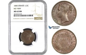 AA568, Straits Settlements, Victoria, 1/2 Cent 1845 no WW, NGC MS63BN, Pop 7/2, Rare!
