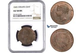 AA569, Straits Settlements, Victoria, 1 Cent 1845, NGC AU58BN