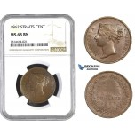 AA570, Straits Settlements, Victoria, 1 Cent 1862, NGC MS63BN