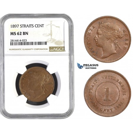 AA572, Straits Settlements, Victoria, 1 Cent 1897, NGC MS62BN