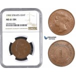 AA573, Straits Settlements, Victoria, 1 Cent 1900, NGC MS61BN