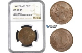 AA574, Straits Settlements, Victoria, 1 Cent 1901, NGC MS63BN