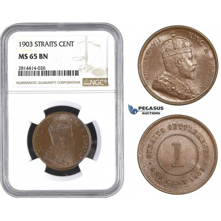 AA575, Straits Settlements, Edward VII, 1 Cent 1903, NGC MS65BN, Pop 3/0, Rare grade!