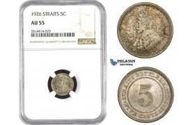AA576, Straits Settlements, George V, 5 Cent 1926, Silver, NGC AU55