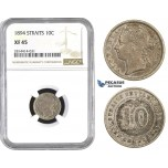 AA577, Straits Settlements, Victoria, 10 Cent 1894, Silver, NGC XF45