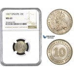 AA578, Straits Settlements, George V, 10 Cent 1927, Silver, NGC MS63