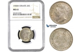 AA579, Straits Settlements, Victoria, 20 Cent 1900-H, Heaton, Silver, NGC MS61, Pop 2/0, Rare Grade!