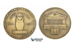 AA586, Belgium, Bronze Medal 1951 (Ø70mm, 112.7g) Antwerp Highschool, Owl