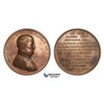 AA593, France & Russia, Bronze Medal 1821 (Ø51.5mm, 59.6g) by Caque, Death of Napoleon Bonaparte