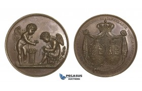 AA597 Germany & Denmark, Bronze Medal 1822 (Ø41mm, 37.4g) by Andrieu, Visit of Prince Christian & Princess Amelie to Paris