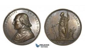 AA603, Italy, Bronze Medal 1824 (Ø54.5mm, 88g) by Girometti, Death of Cardinal Consalvi, Owl, Minerva
