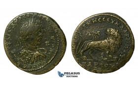 AA627, Roman Provincial, Tarsus in Cilicia, Caracalla (198-217 AD) Æ34 (17.55g) Lion, aVF