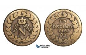 AA629, France, Napoleon, Un Décime (10C) 1814.-BB, Strasbourg, Fine