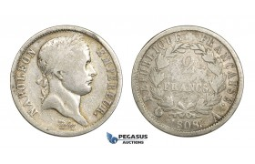 AA631, France, Napoleon, 2 Francs 1808-A, Paris, Silver, Fine