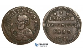 AA633, Italy, Fano - Sampietrino, Pius VI, 2 1/2 Baiocchi 1797, Bronze (8.96g) VF, Extremely Rare!