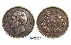 AA634, Sarawak, J. Brooke Rajah, 1/2 Cent 1863, VF