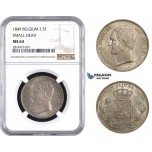 AA640, Belgium, Leopold I, 2 1/2 Francs 1849, Brussels, Silver, NGC MS63 (Small Head)