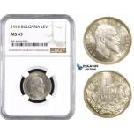 AA641, Bulgaria, Ferdinand, 1 Lev 1910, Silver, NGC MS63