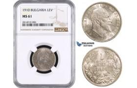 AA642, Bulgaria, Ferdinand, 1 Lev 1910, Silver, NGC MS61