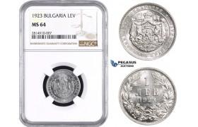 AA643, Bulgaria, Boris III, 1 Lev 1923, NGC MS64
