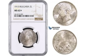 AA645, Bulgaria, Ferdinand, 2 Leva 1913, Silver, NGC MS62+