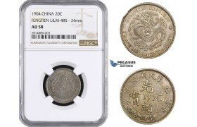 AA651, China, Fengtien, 20 Cents 1904 (8 Rows of scalles) Silver, L&M 485, NGC AU58