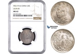 "AA654, China, ""Fat Man"" 20 Cents Yr. 3 (1914) Silver, L&M 65, NGC MS62"