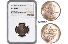 AA659, Ottoman Empire, Egypt, Abdulaziz, 4 Para AH1277/4, Misr, NGC MS64RB