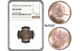 AA660, Ottoman Empire, Egypt, Abdulaziz, 4 Para AH1277/4, Misr, NGC MS64RB