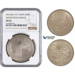 AA661, Egypt (Occupation Coinage) 20 Piastres AH1335 (1917) Silver, NGC MS64 (Undergraded)