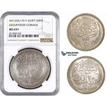 AA662, Egypt (Occupation Coinage) 20 Piastres AH1335 (1917) Silver, NGC MS63+