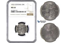 AA665, Estonia, 5 Marka 1922, NGC MS64