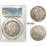AA667, France, Louis Philippe I, 5 Francs 1845-A, Paris, Silver, PCGS MS62