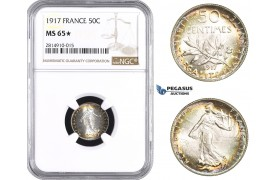 AA668, France, Third Republic, 50 Centimes 1917, Paris, Silver, NGC MS65★