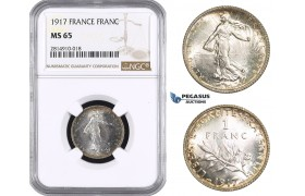 AA671, France, Third Republic, 1 Franc 1917, Paris, Silver, NGC MS65