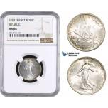 AA672, France, Third Republic, 1 Franc 1920, Paris, Silver, NGC MS66