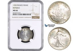 AA672, France, Third Republic, 1 Franc 1920, Paris, Silver, NGC MS66