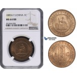 AA677, French Indo-China, 1 Centime 1885-A, Paris, NGC MS64RB