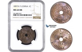 AA680, French Indo-China, 1 Centime 1897-A, Paris, NGC MS64RB