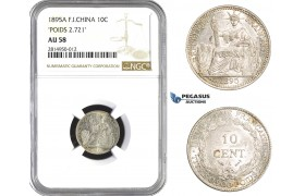 "AA681, French Indo-China, 10 Centimes 1895-A, Paris, Silver, ""Poids 2.721"" NGC AU58"