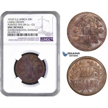 AA682, German East Africa (DOA) 20 Heller 1916-T, Tabora, Small Crown, Pointed Tips on L's, NGC UNC Det., Slab Error
