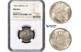 AA683, Greece, Othon, Drachma 1832, Munich, Silver, NGC MS64+ (Looks better)