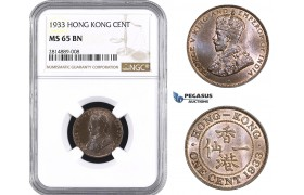 AA684, Hong Kong, George V, 1 Cent 1933, NGC MS65BN