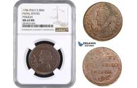 AA685, Italy, Papal States Perugia, 2 1/2 Baiocchi 1796, NGC MS63BN, Pop 1/0