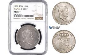 AA687, Italy, Naples & Sicily, Ferdinand II, 120 Grana 1857, Silver, NGC MS63+