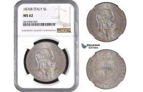 AA688, Italy, Vitt. Emanuele II, 5 Lire 1876-R, Rome, Silver, NGC MS62